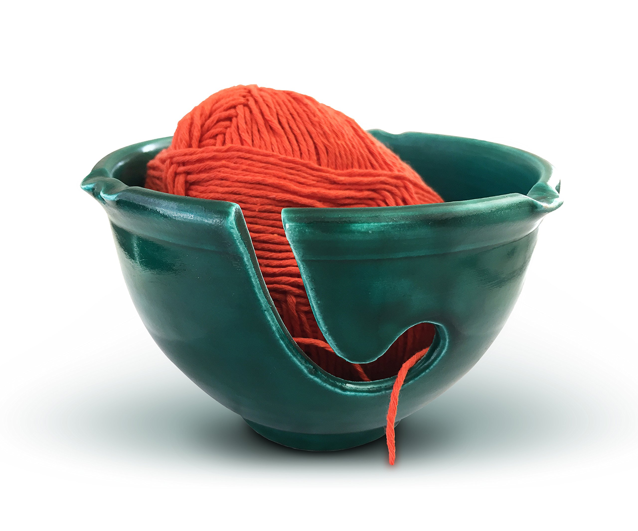 Knitting Yarn Bowl Ceramic and Knitting Bag Bundle, Storage Organizer, Holder for Knitting and Crochet, Yarn Holder with Knit Drawstring Bag, Knitting Bowl Handmade Forest Green by Yarn Story