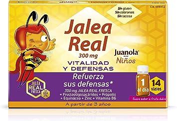 Oferta amazon: Juanola - Jalea Real para Niños, 14 Viales - Complemento alimenticio con jalea real fresca, fructooligosacáridos, própolis, extracto de equinácea, zinc y vitamina B6.