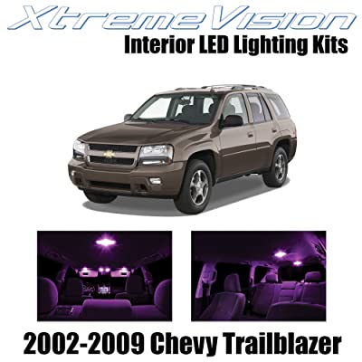 Xtremevision Interior LED for Chevy Trailblazer 2002-2009 (16 Pieces) Pink Interior LED Kit + Installation Tool: Automotive