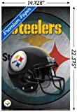"Trends International NFL Pittsburgh Steelers-Helmet Mount Wall Poster, 14.725"" x 22.375"", Premium Poster & Mount Bundle"