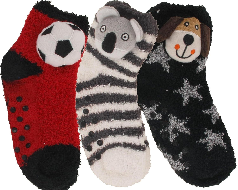 Chaussettes douces antidérapantes enfant garçon doudou tête 3D lot de 3 paires 1uhZrN
