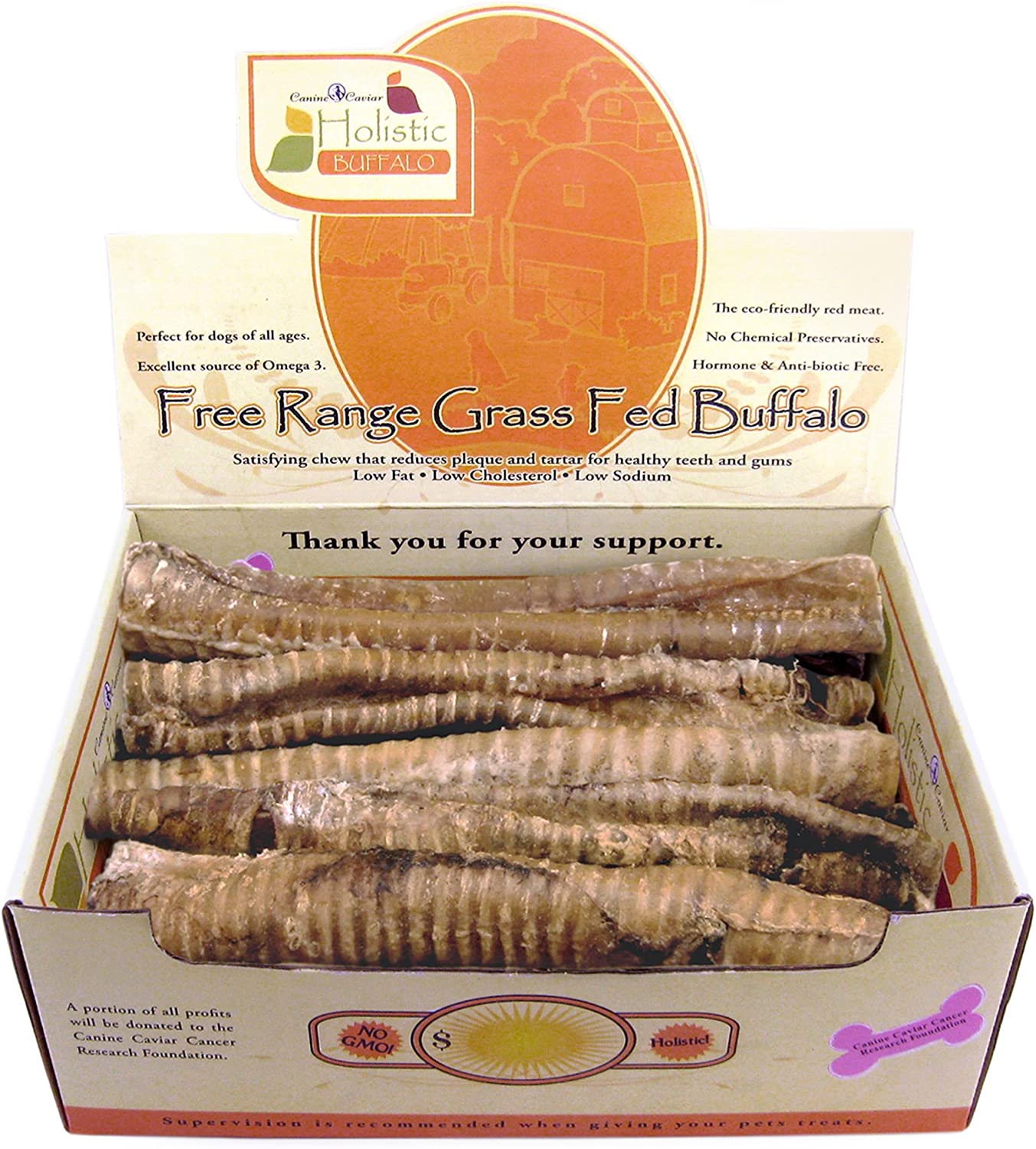 Canine Caviar Buffalo Treats Buffalo Buffaroos 100 Natural Dog Treats, Trachea Dog Chews