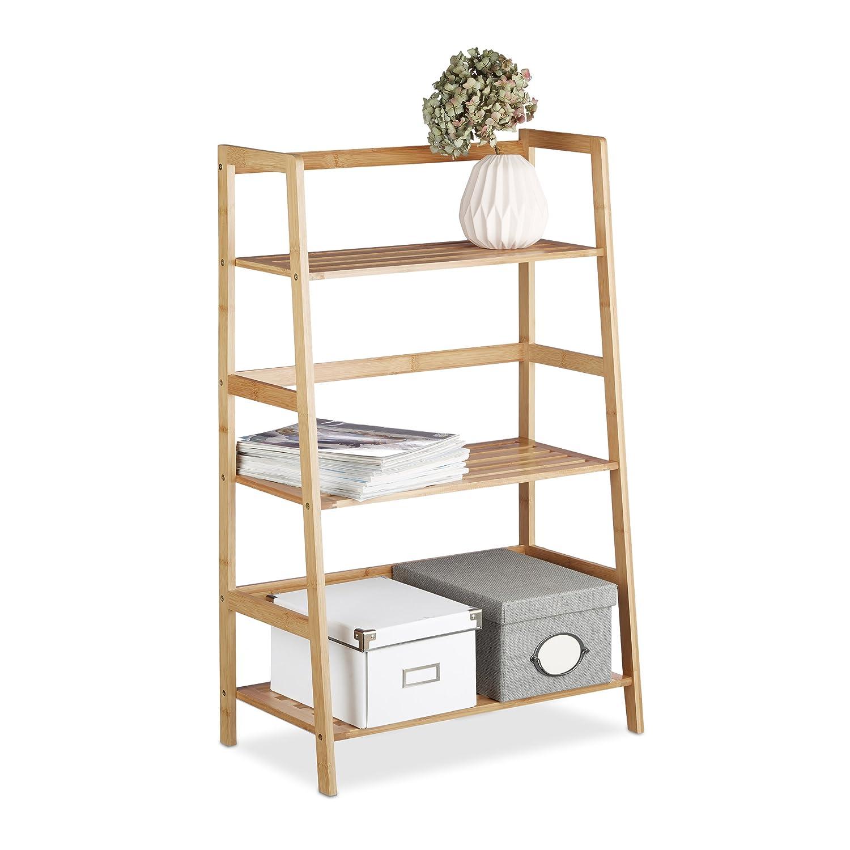 Relaxdays Bamboo Freestanding Bookcase with 3 Shelves, HxWxD: 91 x 57 x 32 cm, Narrow Rack, Bathroom Storage Unit, Bookshelf, Natrual Brown 10020287