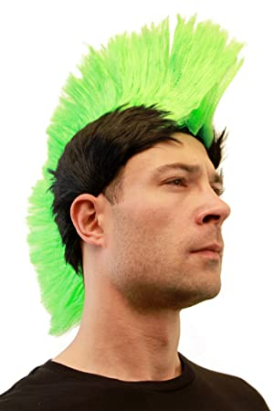 Wig Me Up Party Fancy Dress Halloween Mohawk Punk Neon Green On Black Lm 420 P103 Pc3 Anarchy In The Uk