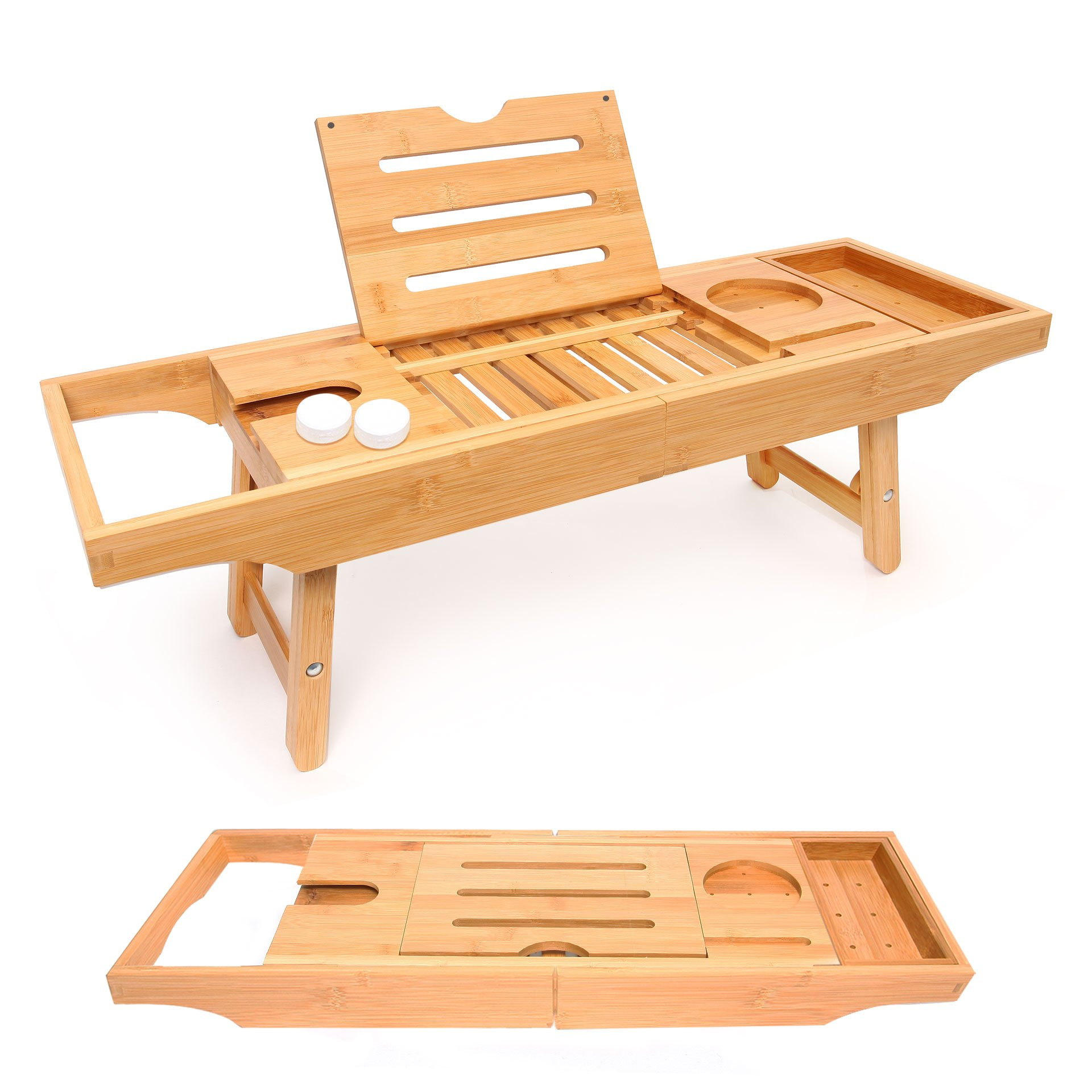 Bathtub Caddy and Bed Tray Combo - Premium Bamboo Wood with 2 Lavender Bath Bombs - Folding Legs/Fully Adjustable - Mold Resistant - Phone Tablet and Wine Holders for The Finest Home Spa Experience