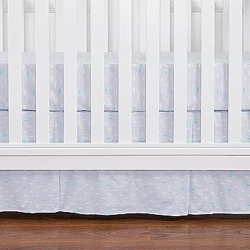 Crib Skirt Grey Dust Ruffle Baby Bed Skirt with Tassel Trim Nursery Crib Bedding Skirt for Baby Boys and Girls,15Drop