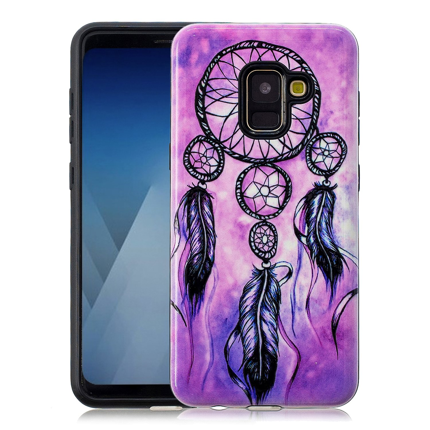 Gostyle Samsung Galaxy A8 2018 Case, Ultra Slim 2 in 1 Dual Layer Hybrid Hard PC + Soft Rubber TPU Bumper Cover, Creative Colorful Lotus Pattern Anti-Scratch Shockproof Protective Cover