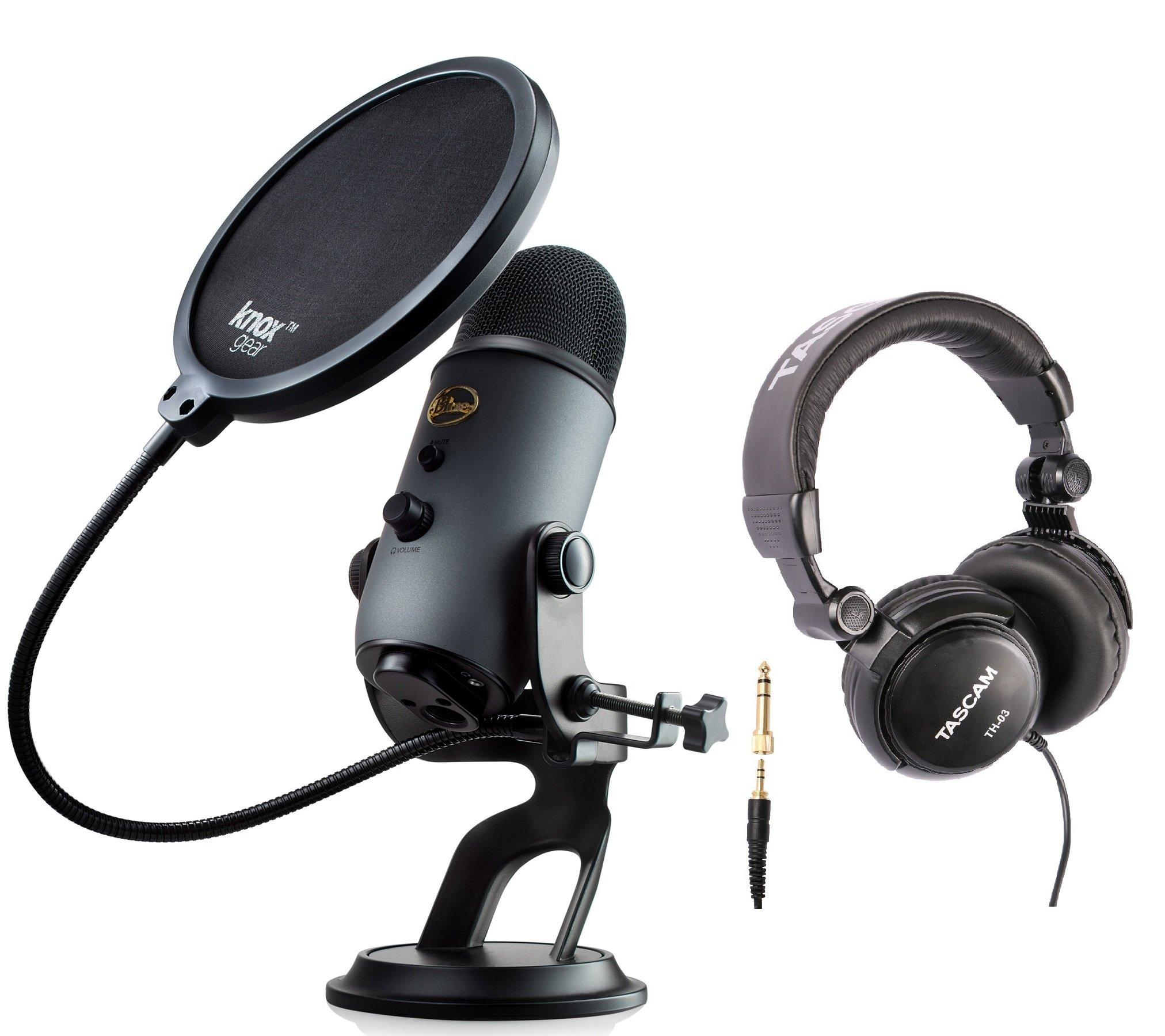 Microfono Usb Blue Yeti (pizarra) Con Auriculares Y Filtro Knox Pop