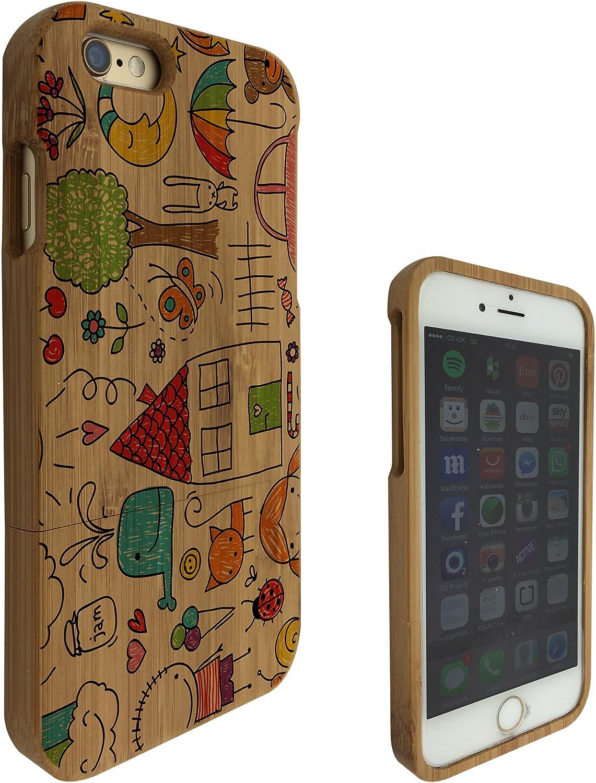 c0206 - niños dibujo sol AUTO animales Rainbow gato luna.. Diseño iphone 6 6S 11,94 cm Natural madera carcasa Defender plàstico resistente cubierta protectora: Amazon.es: Electrónica