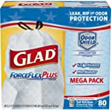 Glad ForceFlexPlus Tall Kitchen Drawstring Trash Bags - Unscented -13 Gallon - 80 Count