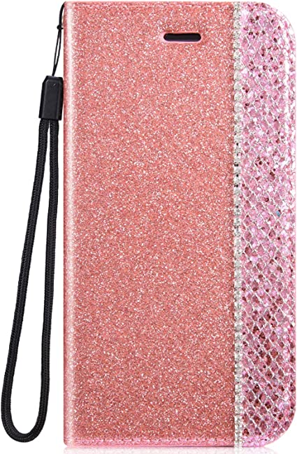 IKASEFU Shiny Rhinestone Diamond Sparkle Bling Glitter Luxury Wallet with Card Holder Flash chip Pu Leather Magnetic Flip Case Protective Cover Case Compatible with iPhone XS Max,Black
