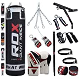 RDX 17 Piece Boxing Set 4FT 5FT Filled Heavy Punch Bag Gloves Bracket Chains Training MMA Punching Bags