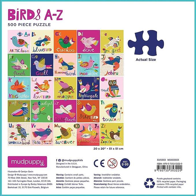 Amazon Com Mudpuppy Birds A To Z Family Jigsaw Puzzle Mudpuppy Carolyn Gavin Toys Games