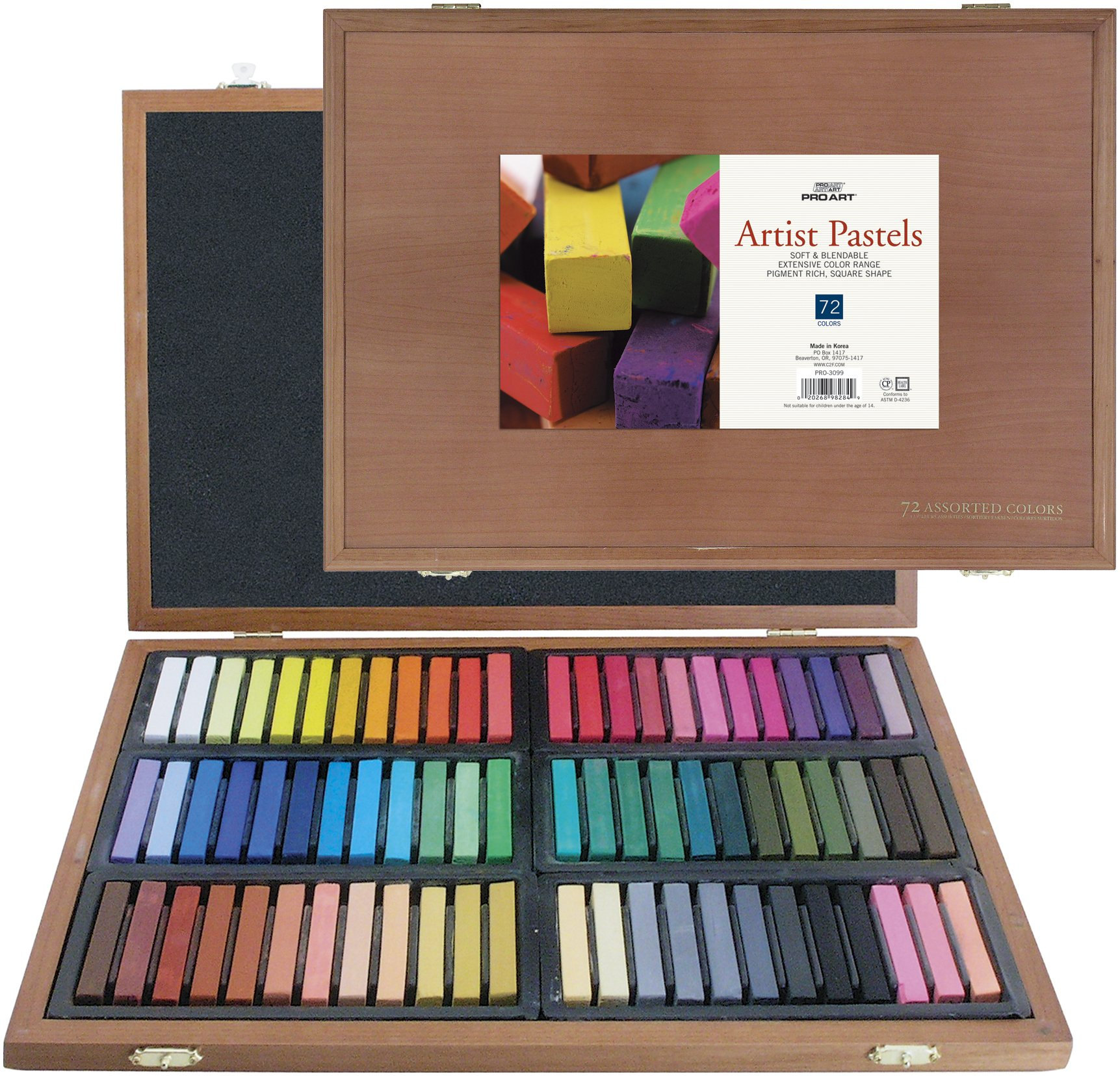 PRO ART Square Artist Pastel Set, 72 Assorted Colors Wood Box by PRO ART