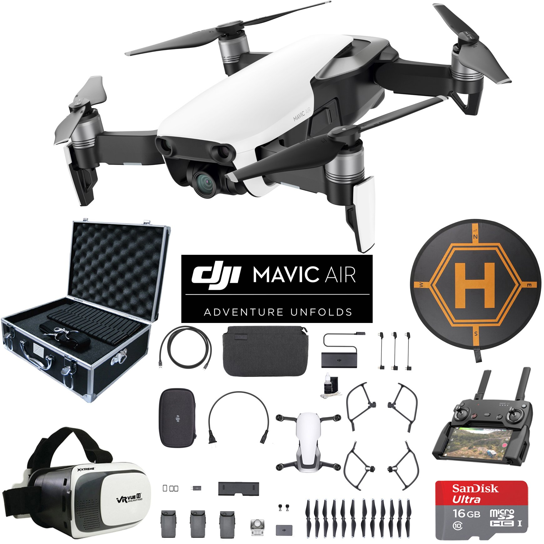 DJI Mavic Air Fly More Combo (Arctic White) Drone Combo 4K Wi-Fi Quadcopter with Remote Controller Mobile Go Bundle with Hard Case VR Goggles Landing Pad 16GB microSDHC Card Kit