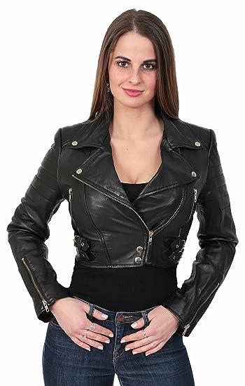A1 FASHION GOODS Damen Biker Schwarz Lederjacke kurz Ausgestattet Kurz Geschnittene Bustier Art Mantel Amanda