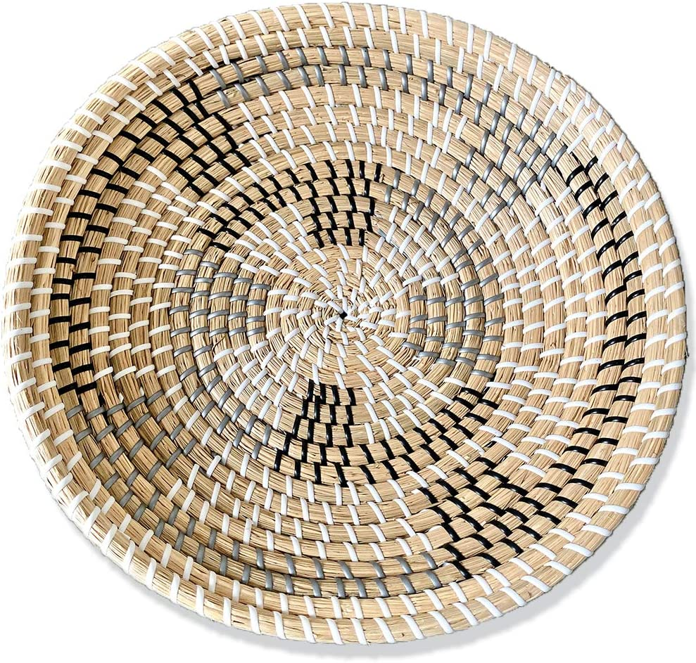 Ronala Home Woven Wall Basket | Natural Boho Home Decor | Woven Basket Wall Decor | Decorative Seagrass Basket | Basket Wall Decor Seagrass Hanging Woven Wall Basket (D 13.75