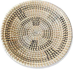 Ronala Home Woven Wall Basket | Natural Boho Home Decor | Woven Basket Wall Decor | Decorative Seagrass Basket | Basket Wall Decor Seagrass Hanging Woven Wall Basket (D 13.75