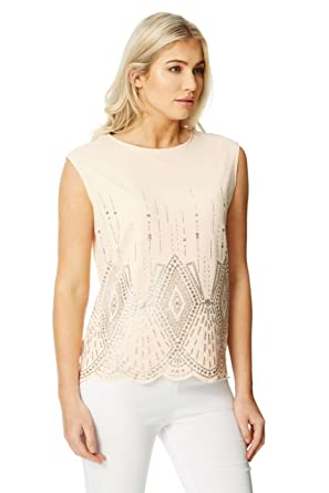 e2984f28bcd0e Roman Originals Women Art Deco Glitter Print Top - Ladies Jersey Great  Gatsby Party Special Occasion Sparkly Evening Going Out Sleeveless Vest Top   ...