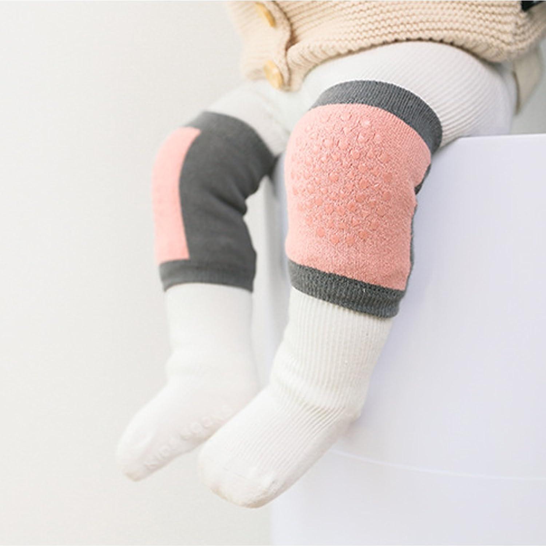 Camilife 3er Pack Baby Junge M/ädchen Baumwolle Krabbeln Knieschoner Anti-Rutsch Gestrickt Kniesch/ützer mit Gummipunkte f/ür Baby 3-36 Monate