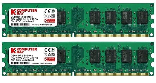 1094 opinioni per Komputerbay 4GB 2X 2GB DDR2 800MHz PC2-6300 PC2-6400 DDR2 800 (240 PIN) DIMM