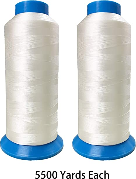 Set of 2 Huge White Spools Bobbin Thread for Embroidery Machine and Sewing Machine 5500 Yards Each Embroidex Polyester