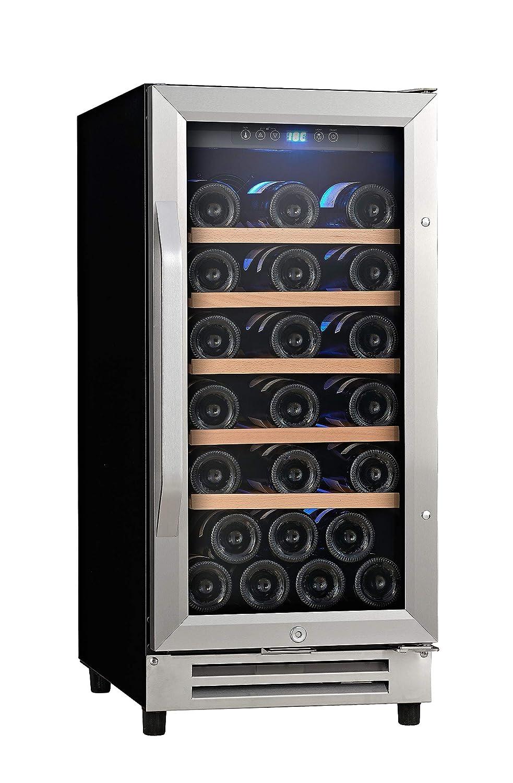 Ausranvik 15'' 32 Bottle Built-in Wine Cooler Wine Refigerator Single Zone S.S Door and Handle, Digital Temperature Control