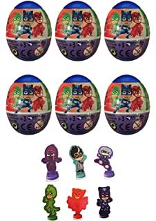 5 NEW PJ MASKS PLASTIC SURPRISE EGGS WITH 2D CHARACTER FIGURE on a base