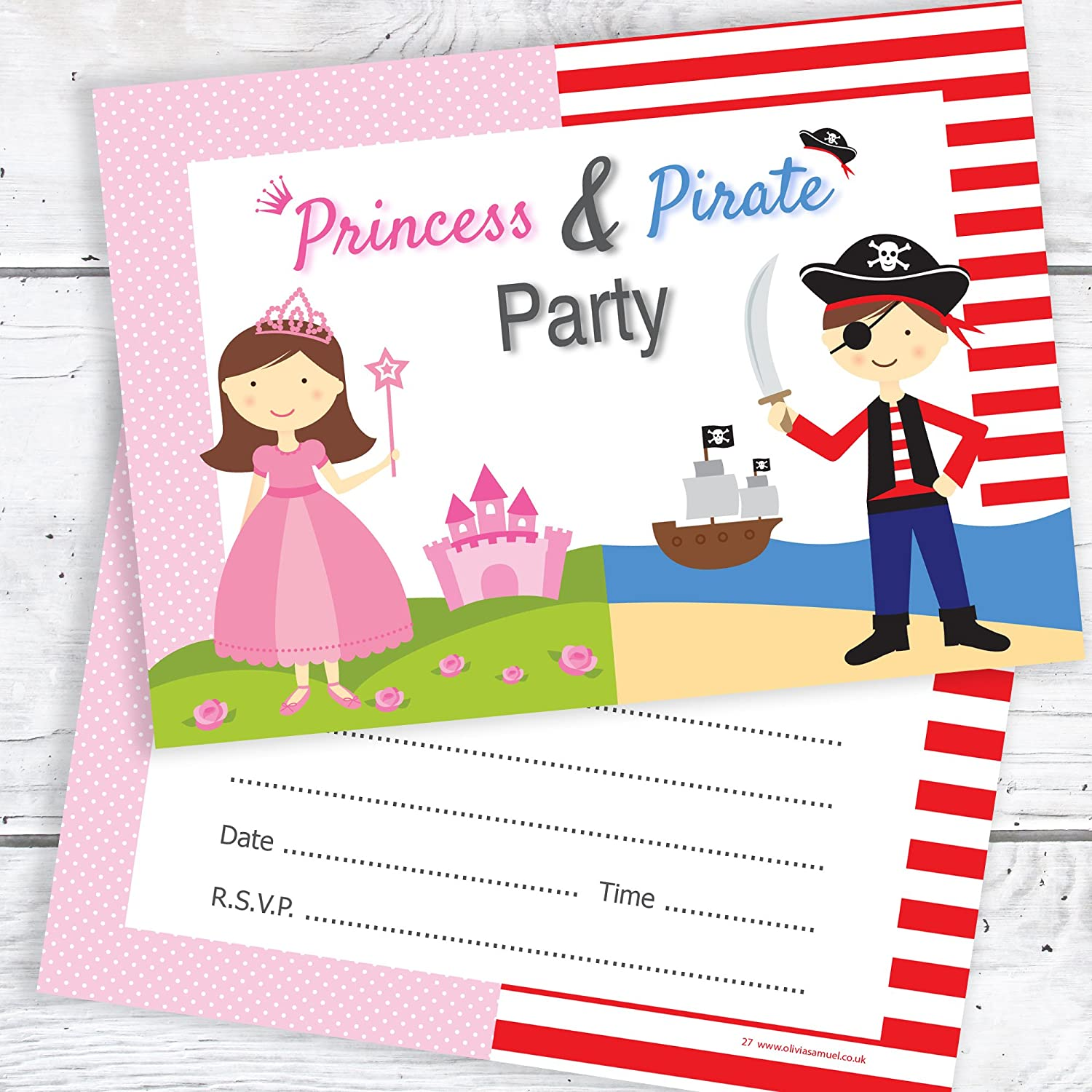 Princess & Pirate Birthday Party Invitations - Kids Fancy Dress Party Invites - A6 Postcard Size with envelopes (Pack of 10) Olivia Samuel