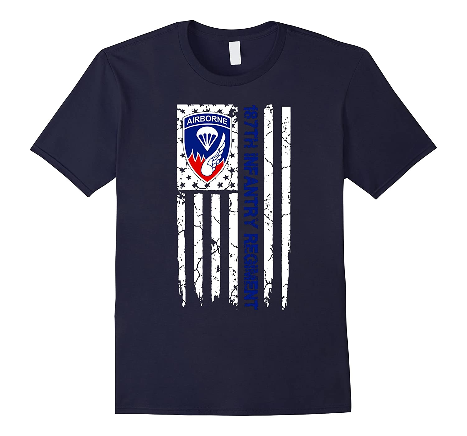 187th Infantry Regiment American Flag Tshirt-4LVS