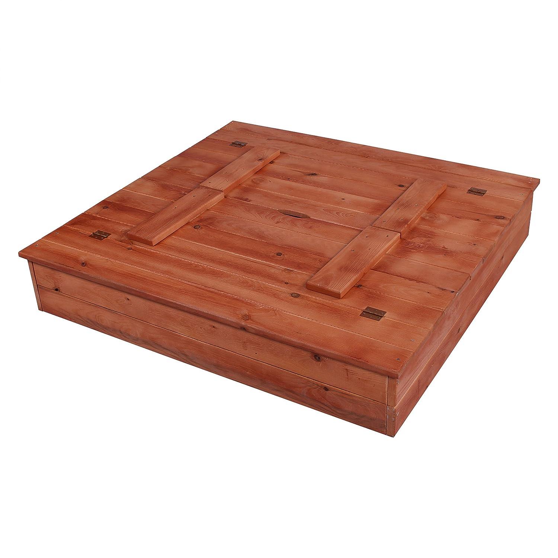 KAGU Sandkasten Sandkiste Sandbox aus Massivholz mit Deckel und Sitzbank, Farbe:Brown