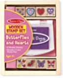 Melissa & Doug Butterfly and Heart Wooden Stamp Set: 8 Stamps and 2-Color Stamp Pad