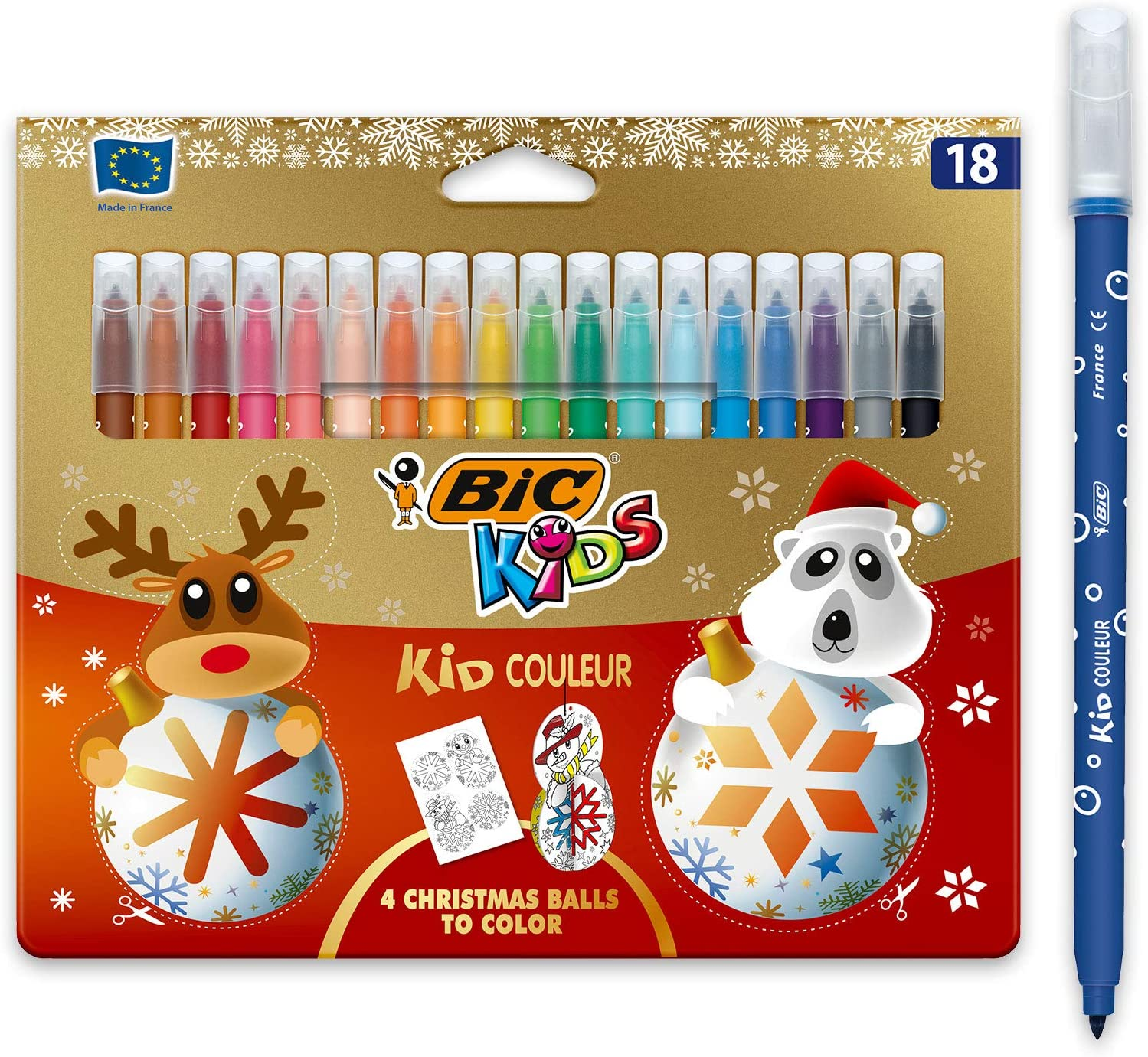 BIC Kids - Bolígrafos de punta de fieltro para niños (punta mediana, edición navideña, 18 unidades), varios colores: Amazon.es: Oficina y papelería