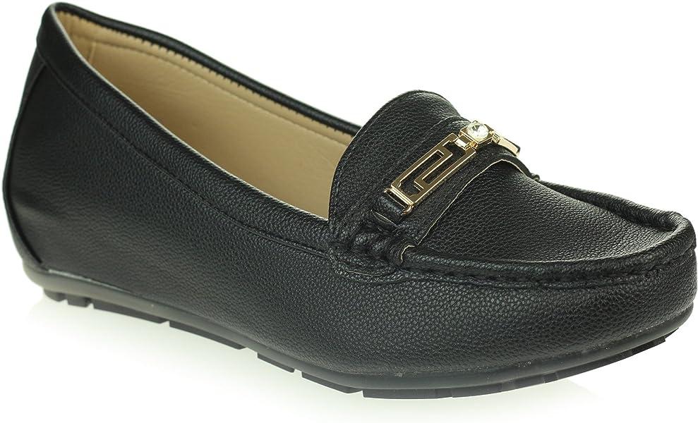 Mujer Señoras Ligero Mocasines Comodidad Cada día Oficina Trabajo Casual Ponerse Plano Negro Zapatos tamaño 37