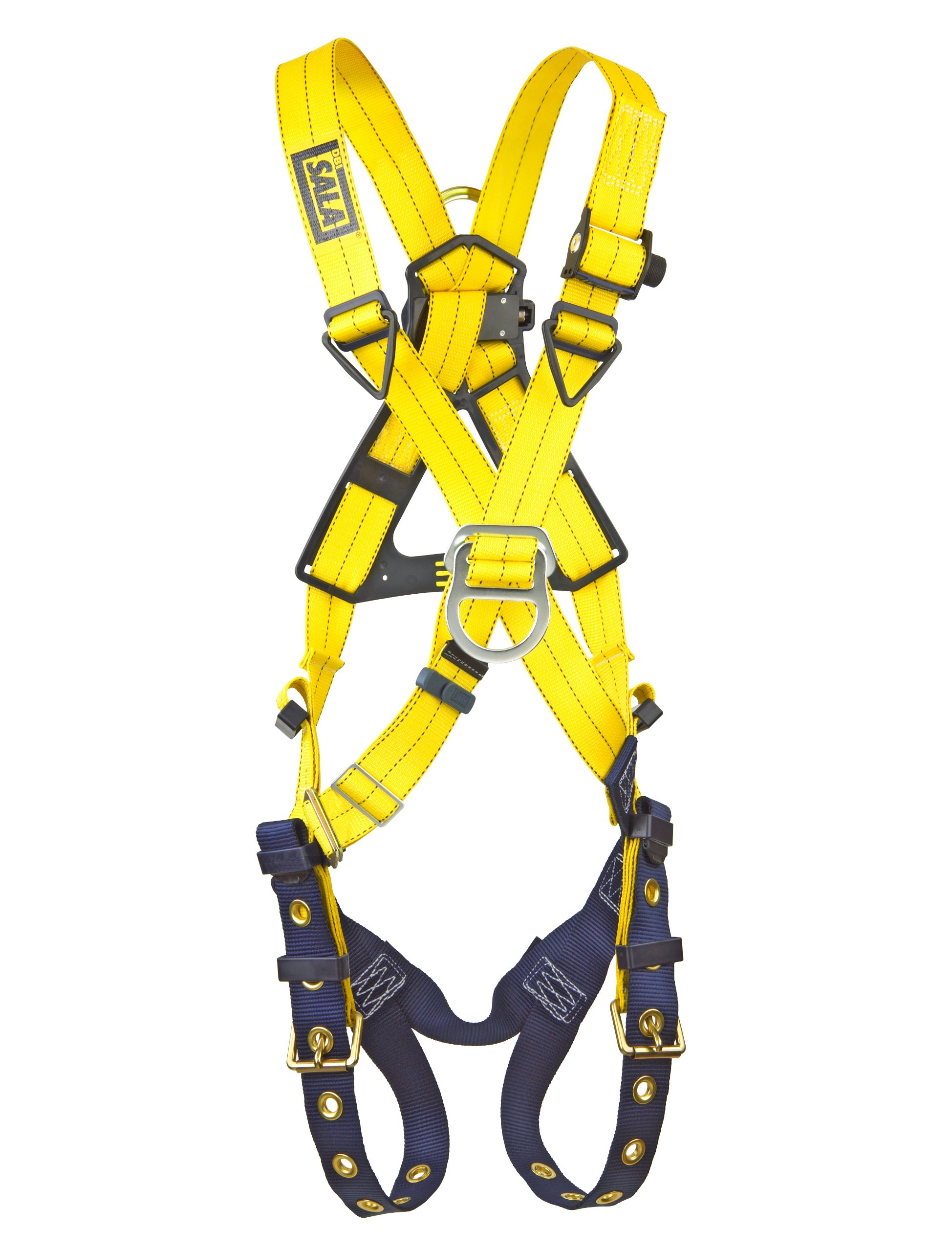 3M DBI-SALA Delta 1102950 Cross-Over Style Harness, Front and Back D-Rings, Tongue Buckle Leg Straps, Universal, Navy/Yellow