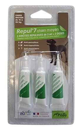 PILOU pipetas répulsives para Perro Mediano X3 pipeta de 3 ML para Perro: Amazon.es: Productos para mascotas