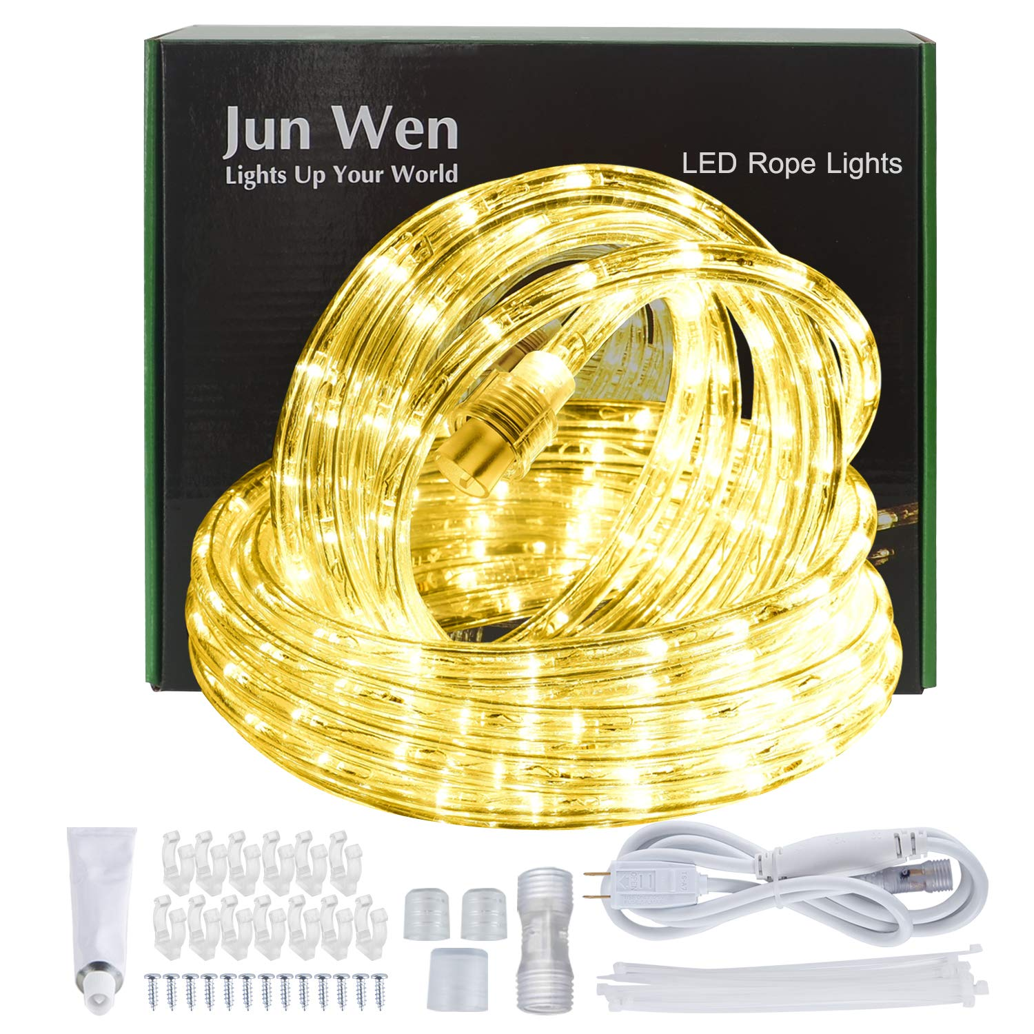 JUNWEN LED Rope Lights 432 LEDs Outdoor Indoor 39ft/12m 110V Waterproof Plugin Decorative Warm White String Ribbon Tape Lighting Flexible Connectable Battery Powered Connector Fuse Holder