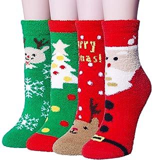 4 Pairs Womens Winter Cozy Fuzzy Christmas Socks, Coral Fleece Warm Slipper Socks