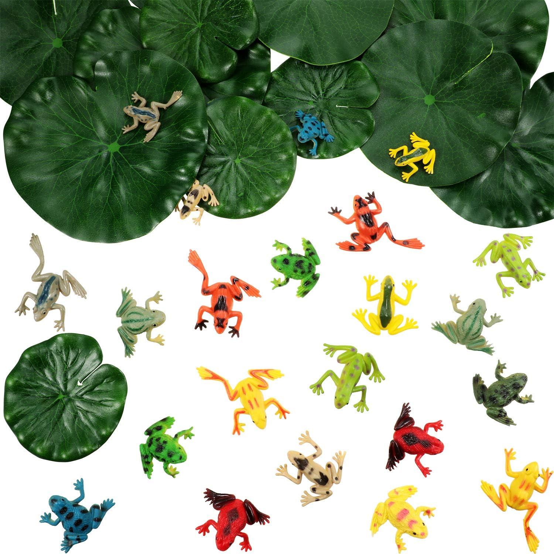 Juego de Rana Plástica de 36 Piezas Include 24 Piezas de Mini Rana Plástica y 12 Piezas de Hoja de Loto Flotante Artificial para Decoración de Estanque Piscina Fiesta