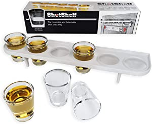 Mountable and Detachable Shot Glass Serving Tray by ShotShelf / Practical and Modern Accessory for 2 oz Liquor Shots, Ideal for Home Parties and Commercial Usage