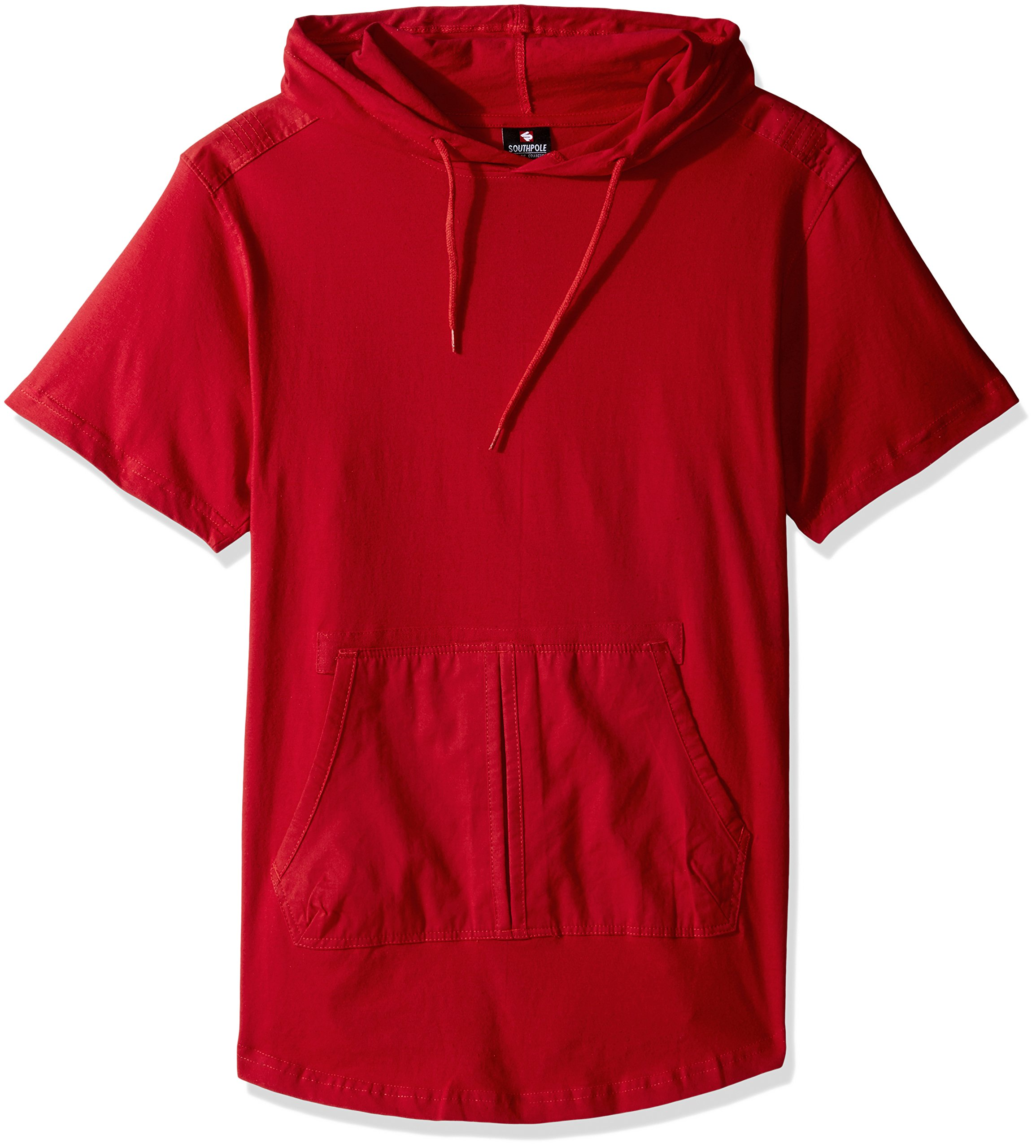 Southpole Men's Short Sleeve Hooded Scallop Tee with Fine Twill Detail, Red, Large
