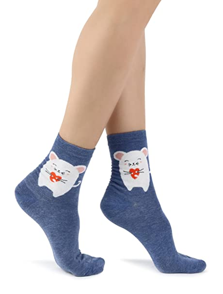 Calcetines de tobillo azul para mujer con lindo Ratón