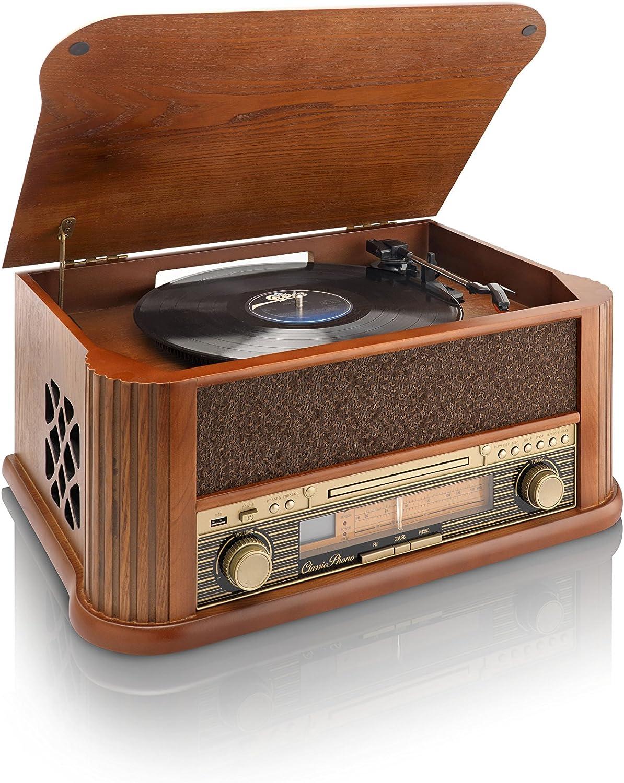 Classic Phono TCD-2500 - Tocadiscos (Estructura de Madera, USB ...