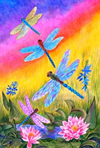 Toland Home Garden Dusk Dragonflies 12.5 x 18 Inch Decorative Colorful Spring Summer Dragonfly Flower Garden Flag