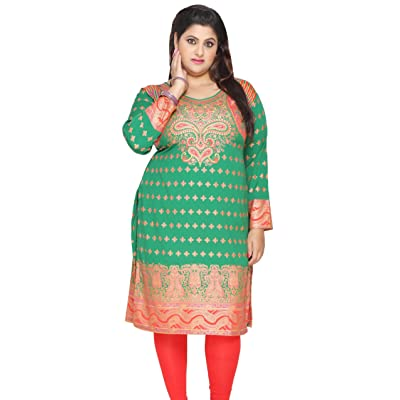 Maple Clothing Women's Plus Size Indian Kurti Tunic Top Printed Blouse at Women's Clothing store