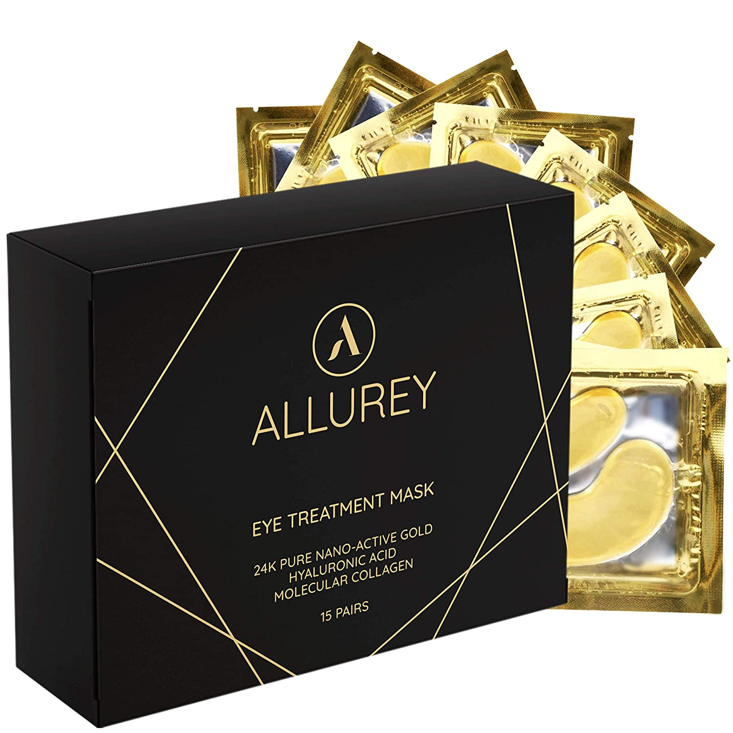 ALLUREY 24K Gold Collagen Eye Mask, Best Eye Treatment, Anti-aging and Anti-wrinkle Effect, Moisturizes, Reduces Puffiness and Dark Circles, Under Eye Patches (15 Pairs)