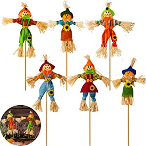6 Pieces Thanksgiving Autumn Scarecrow Decoration Small Scarecrow Decorations Fall Harvest Standing Scarecrow Decor for Autumn, Halloween, Thanksgiving, Garden, Home, Yard, Porch Decoration