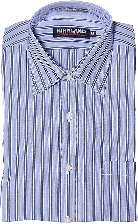 NWT KIRKLAND 80//2 NON-IRON SPREAD COLLAR DRESS SHIRT BLUE//AQUA STRIPE-16.5 35