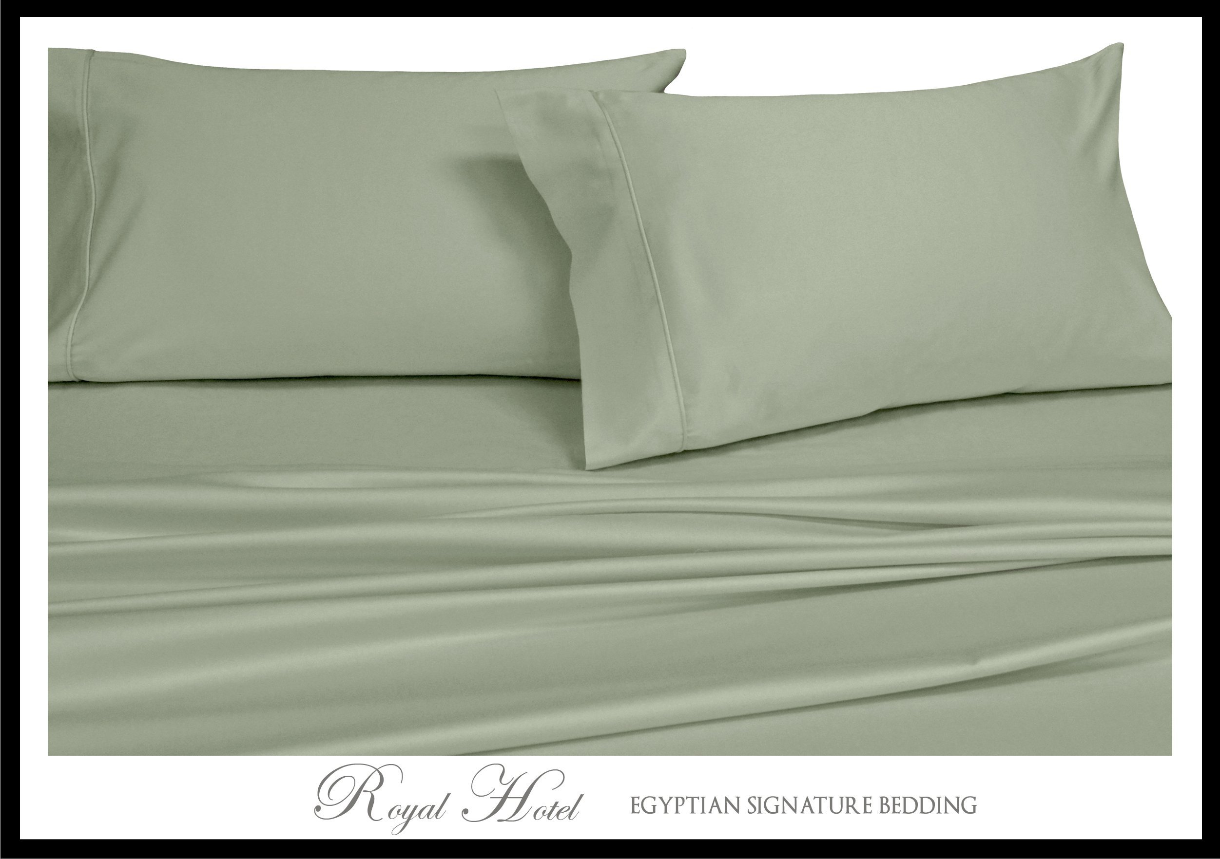 Royal Hotel's Solid Sage 1000-Thread-Count Super-Deep 4pc Queen Bed Sheet Set 100% Cotton, Sateen Solid, Extra Deep Pocket
