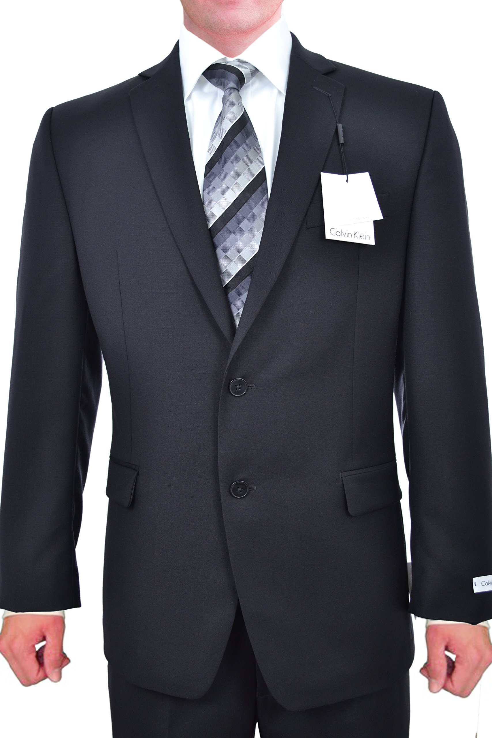 Calvin Klein Slim Fit Black Solid Two Button Wool New Men's Suit Set (38S 34W x 32L) by Calvin + Klein